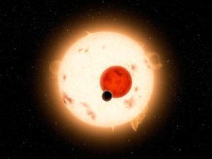 Recreación artística del sistema Kepler-16 y Kepler-16b
